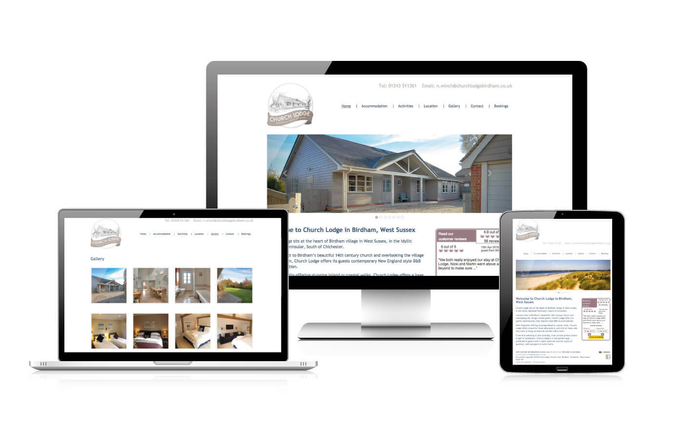 Responsive website design - Church Lodge Birdham