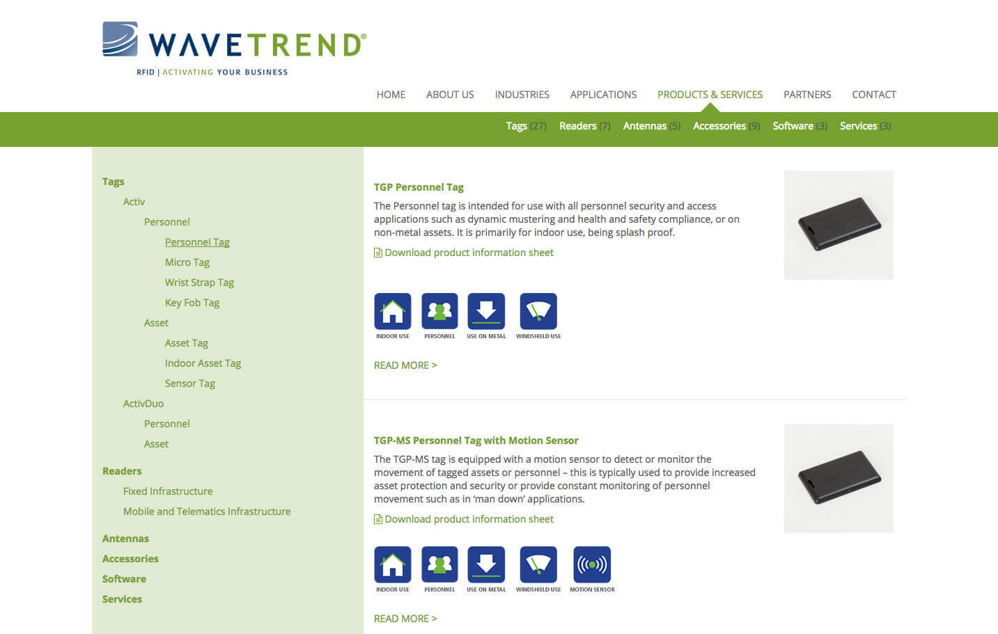 Wavetrend - Products page