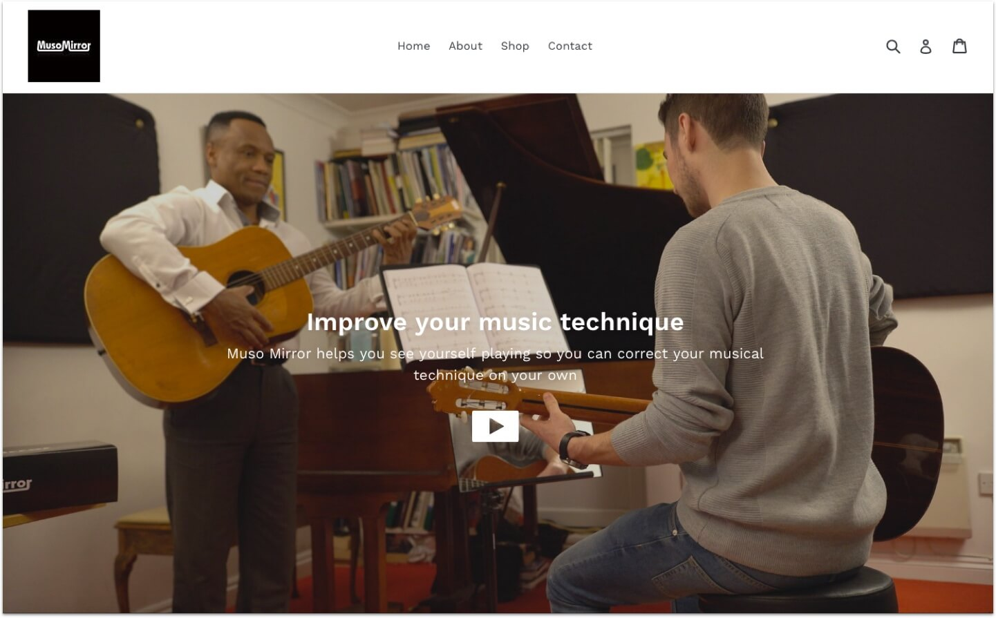 Home page for the Muso Mirror eCommerce site