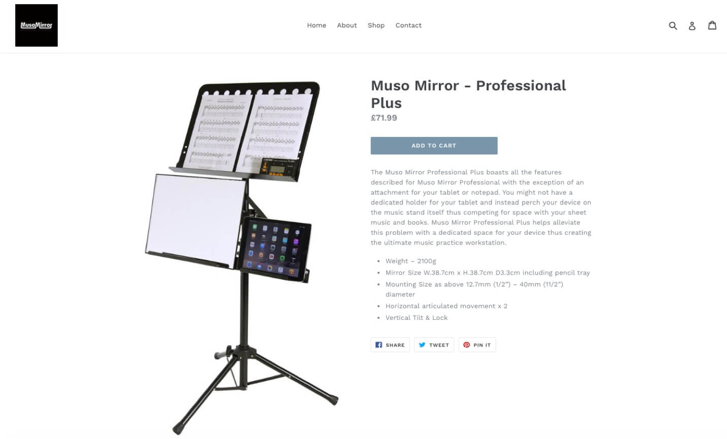 Product page - Muso Mirror eCommerce site