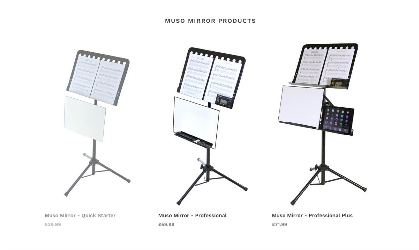 Products on the Muso Mirror eCommerce website