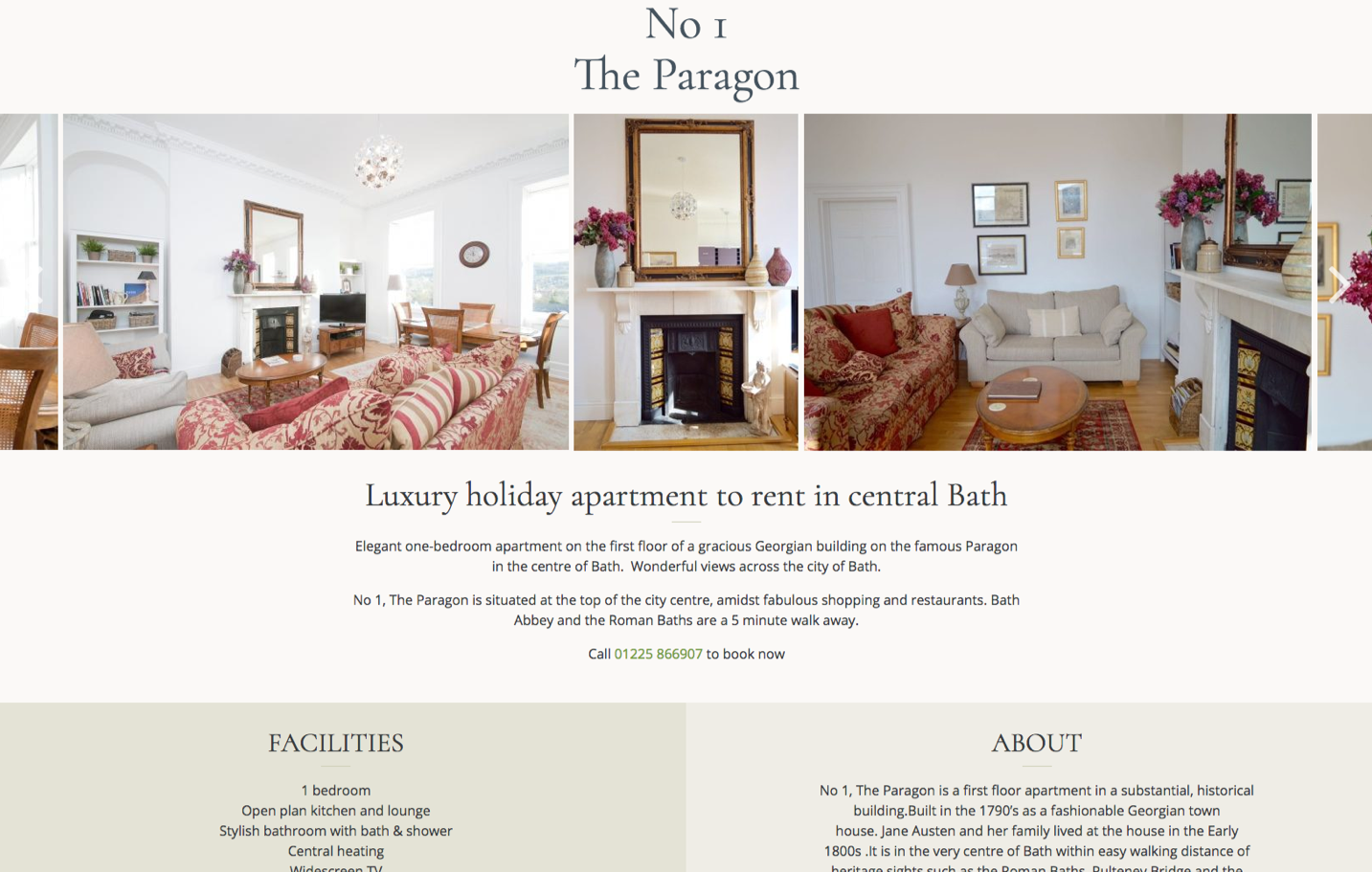 Screenshot of Website for luxury holiday apartment in Bath
