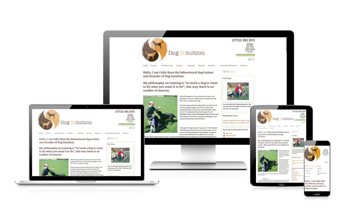 Responsive web design - Dog Intuition