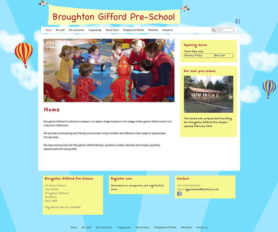 Web design portfolio - Pre-school website design