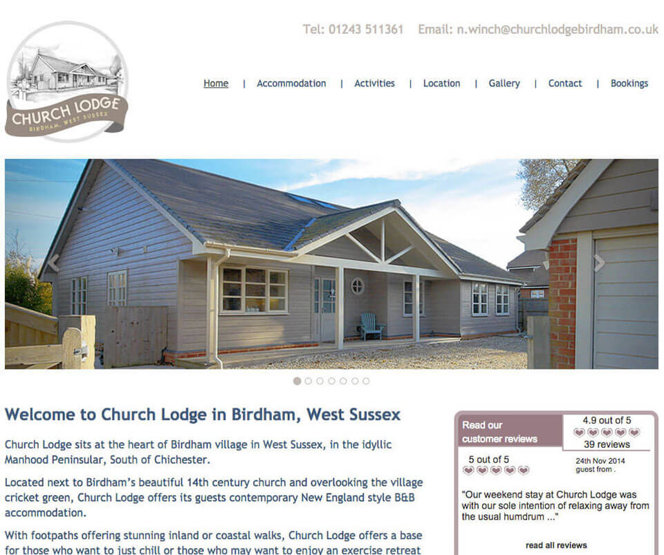 Web design portfolio - Bed & Breakfast Website
