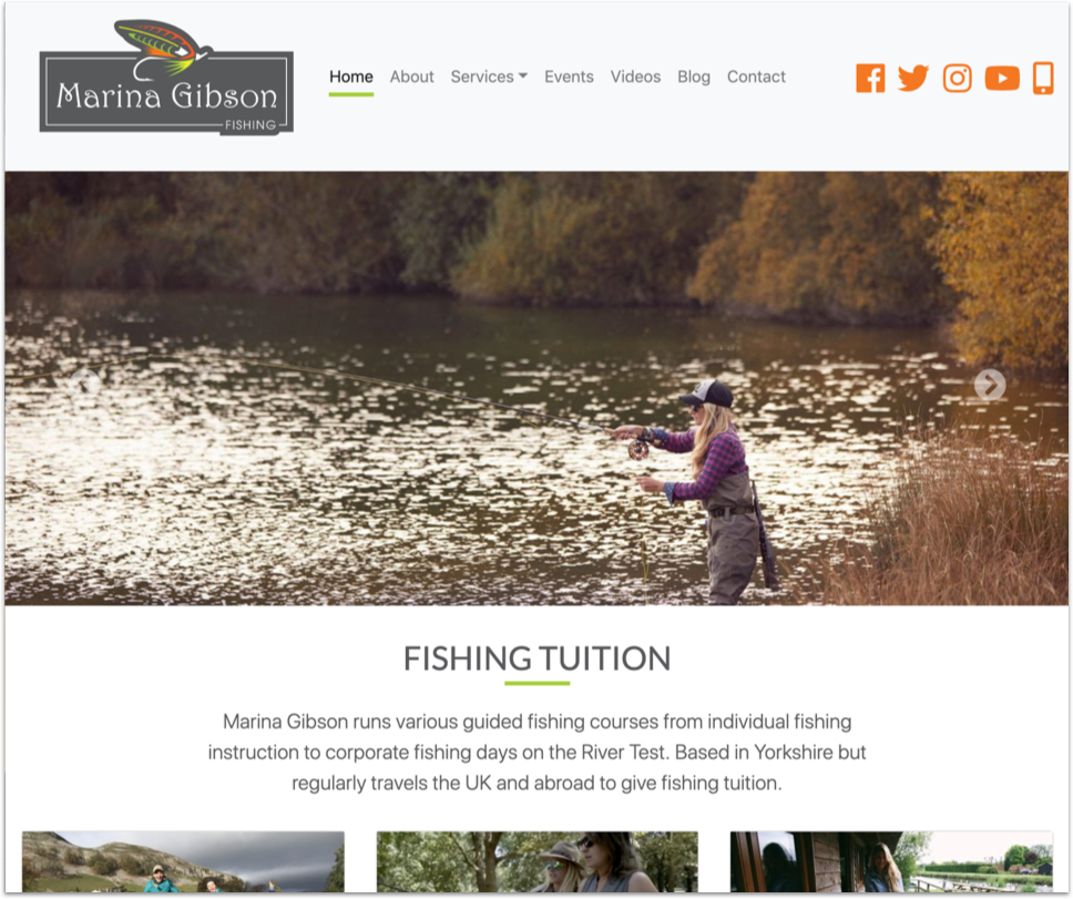 Web design portfolio - Marina Gibson Fishing