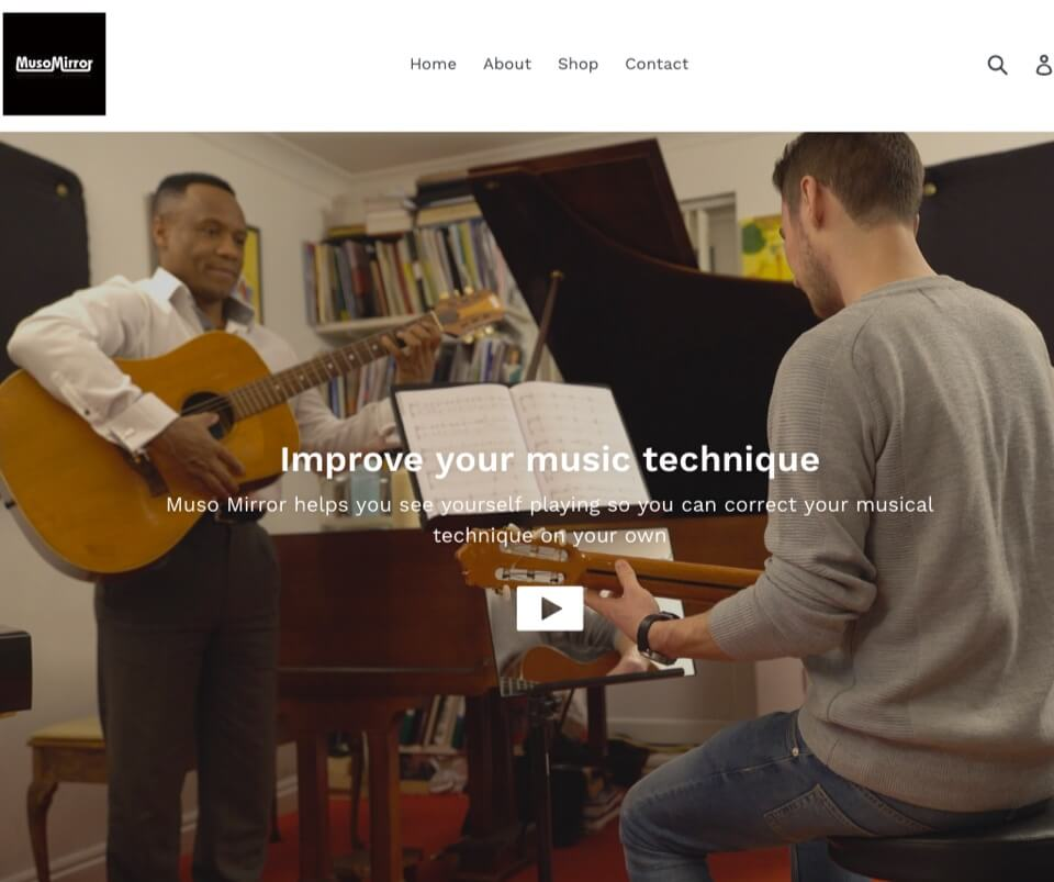 Web design portfolio - eCommerce website for Muso Mirror