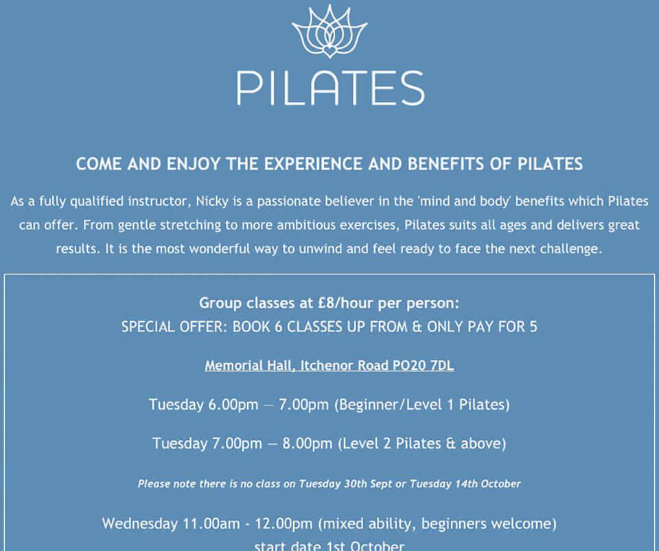Web design portfolio - Pilates instructor website
