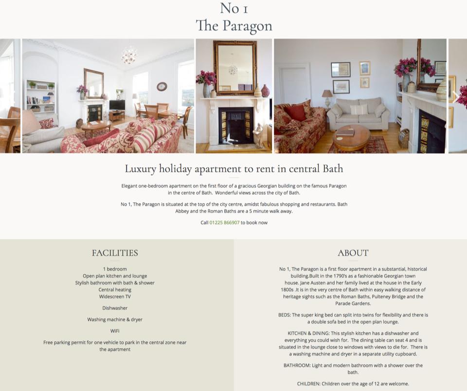 Web design portfolio - WordPress apartment theme